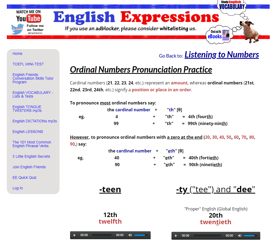 Ordinal numbers pronunciation practice continue listening to numbers ibookread PDF